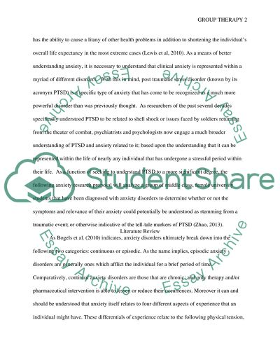 group therapy proposal assignment example