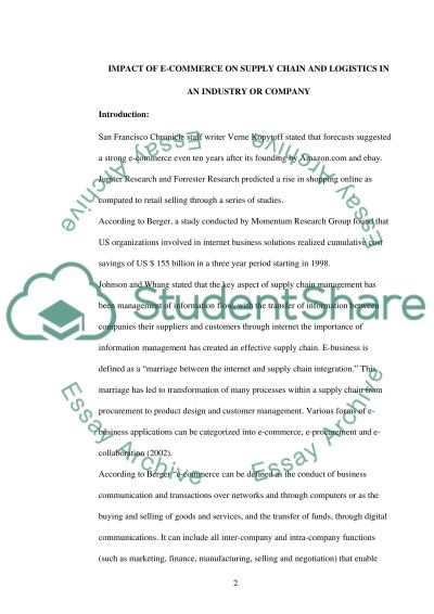 E-commerce of on Supply Chain and Logistics essay example