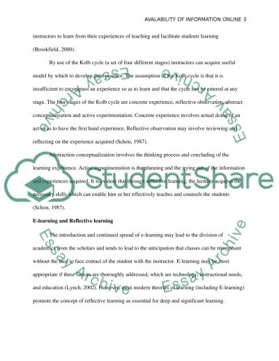 Availability Of Information Online essay example
