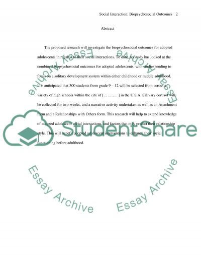 Biopsychosocial Outcomes for Adopted Adolescents essay example