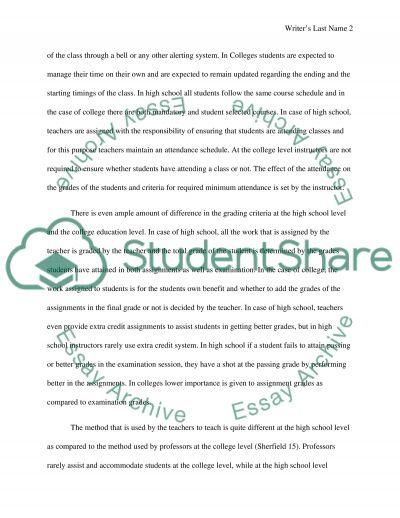 High School vs. College essay example
