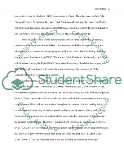 United States Department of Agriculture essay example