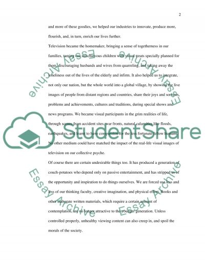 a world out television essay example topics and well written related essays sex on television