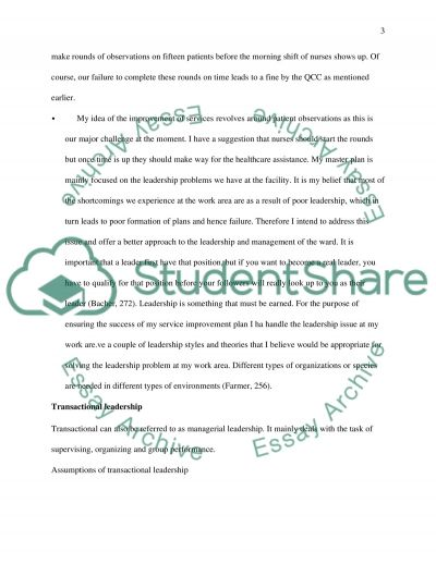 Leadership and service improvement essay example