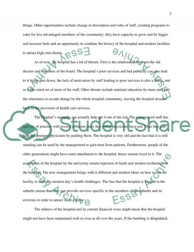 Swot Analysis of Hospital essay example