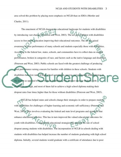 No CHild Left Behind and how it has impacted Special Education essay example