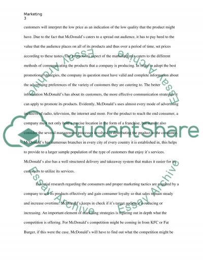 Global business marketing (Mcdonalds) essay example