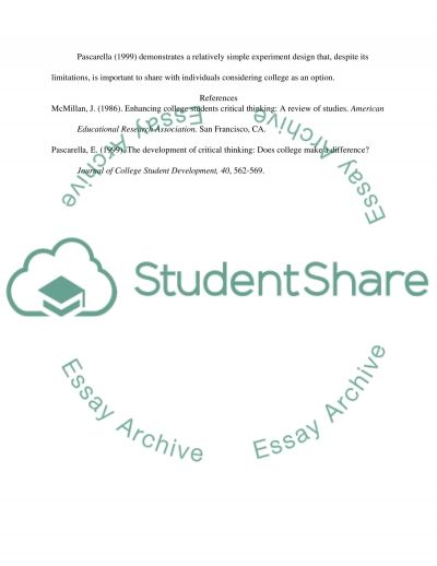 The development of critical thinking: Does college make a difference essay example