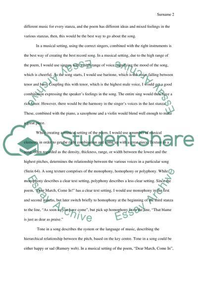 Exploring Song essay example