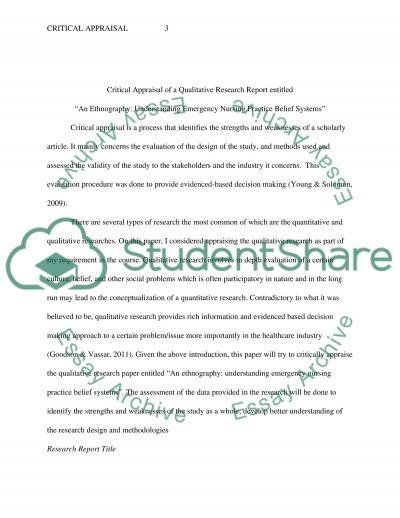 Critique Appraisal essay example