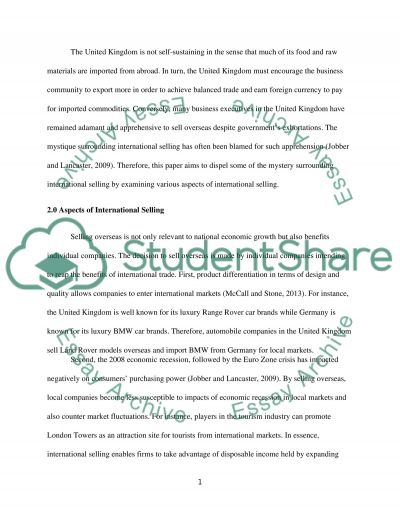 Operational Sales Management - The nature of the sales environment essay example