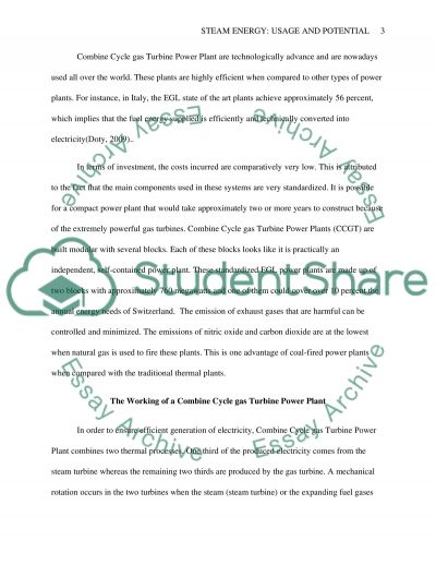 Steam energy: Usage and potential essay example