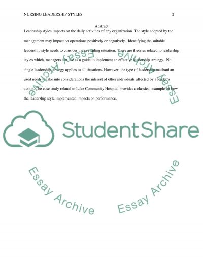 Leadership Styles essay example