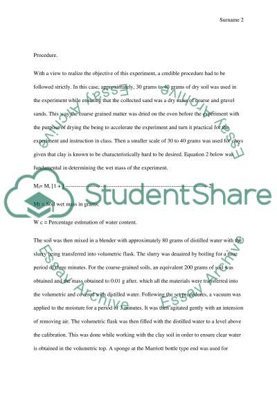Lab report essay example