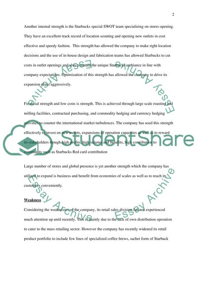 starbucks strengths and weaknesses essay example