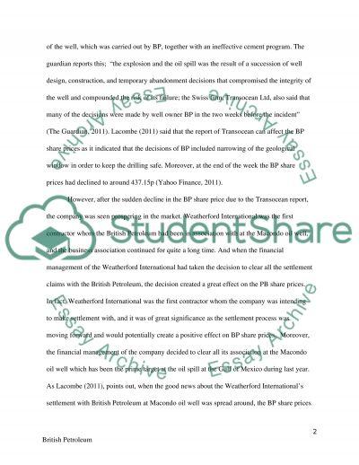 Finance - British Petroleum essay example