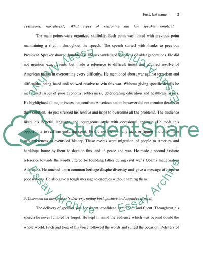critique of outside speaker   various speeches 4 pages
