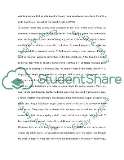 Single Parent Adoption essay example