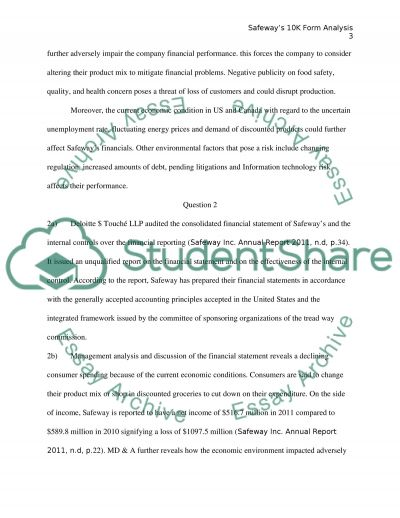 Safeways 10k Form Analysis essay example