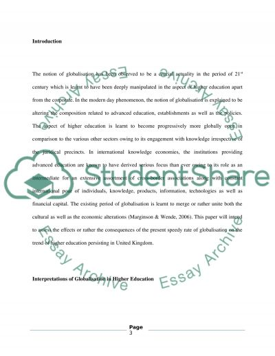 Impact of Globalisation in High Education essay example
