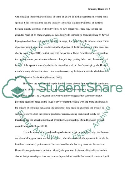 Sourcing Decisions of Arts and Media Organizations essay example