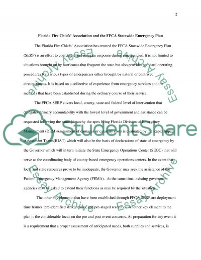 Florida Emergency Response Plan Essay example