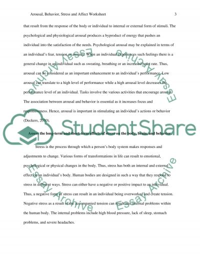 Arousal Behavior Stress And Affect Worksheet Essay