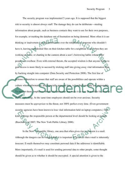 Security Program essay example