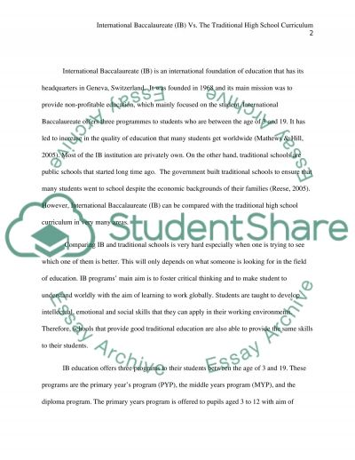International Baccalaureate(IB) vs. the Traditional High School Curriculum essay example