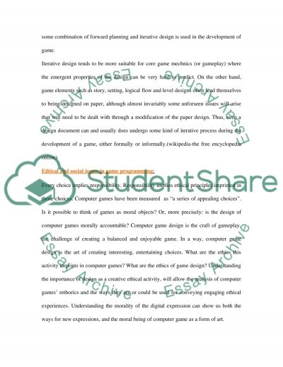Designing a game essay example