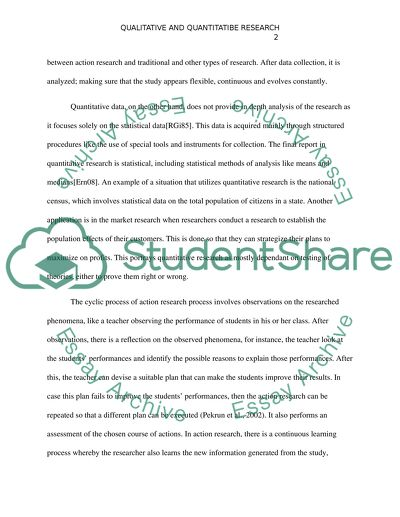 Differences between Action/ Qualitative Research and Assignment