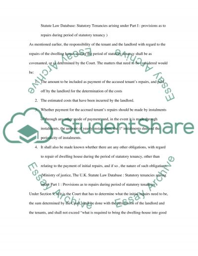 Land lord and tenant law(english law) essay example