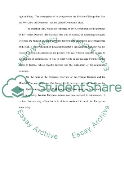 truman doctrine or the marshall plan essay example topics and related essays