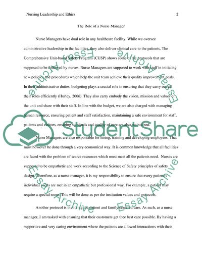 Nursing Ethics and Leadership Assignment