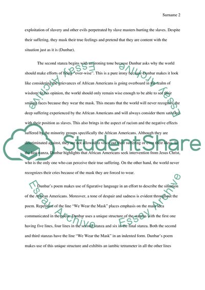 Essays About English We Wear The Mask By Paul Laurence Dunbar Narrative Essay Thesis Statement Examples also Sample Argumentative Essay High School We Wear The Mask By Paul Laurence Dunbar Essay Example  Topics And  High School Application Essay Samples