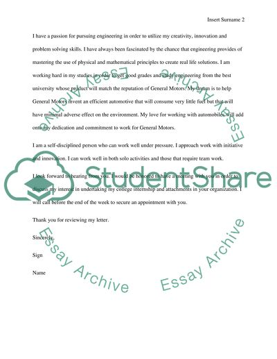 Cover Letter For Essay from studentshare.org