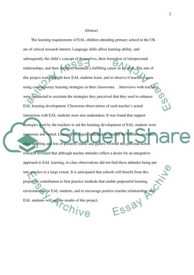 EAL Educational Children Support essay example