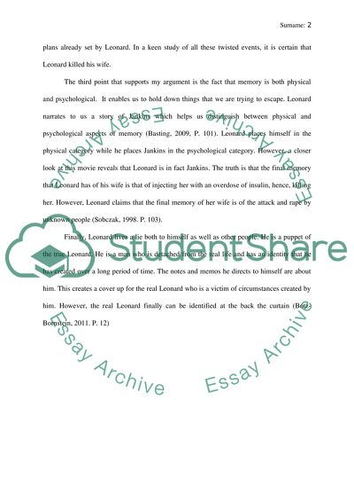 Religion And Science Essay Did The Lead Character Kill His Wife In Memento How To Write A High School Application Essay also Business Plan Writers Ottawa Did The Lead Character Kill His Wife In Memento Essay Essay Topics For High School English