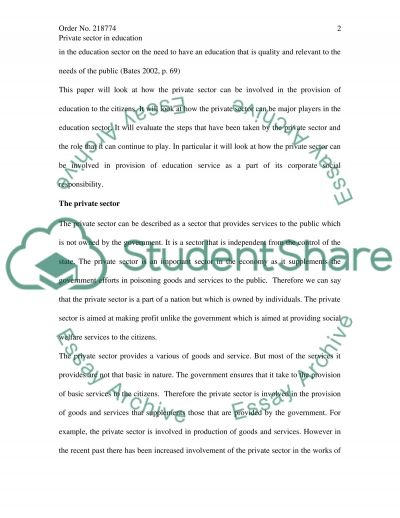 The Role of Privat Sector in Education essay example
