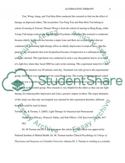 Nursing Essay on Alternative Therapy Essay example