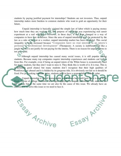 Unpaid internship argument essay