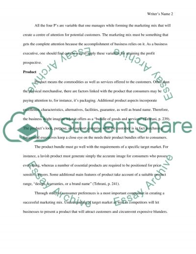 Marketing mix and tool essay example