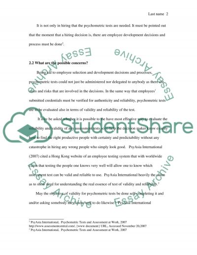 Use of Psychometric Tests in Selection essay example