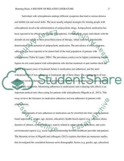 Medication adherence with clients with schizophrenia essay example