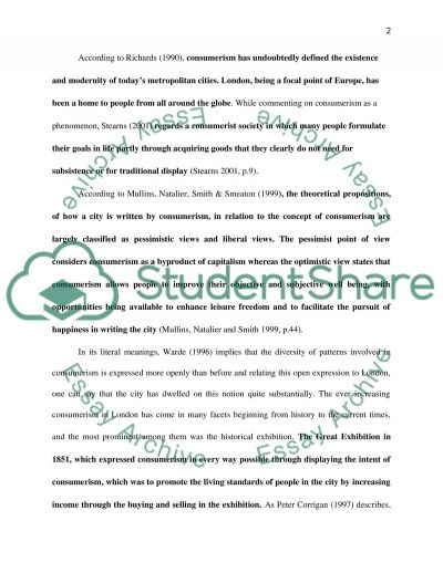 How is the city written, by consumerism (focus on Shopping and fashion) Essay example