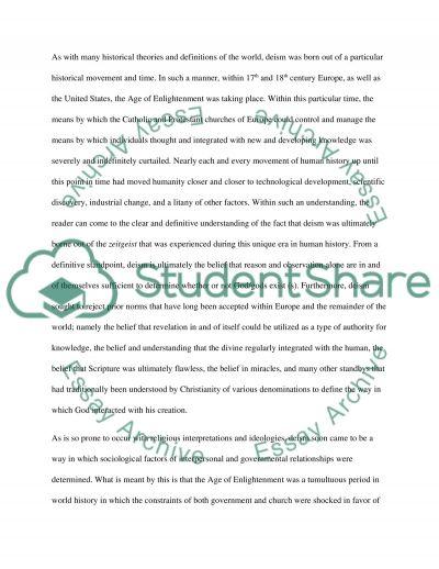Deism essay example
