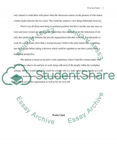 Male Verses Female Leaders essay example