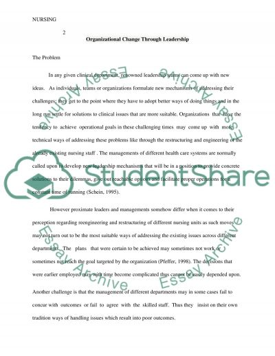 Organizational Change Through Leadership Paper essay example