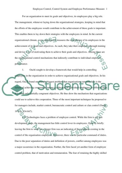 Employee control/ control system/ employee performance measure essay example