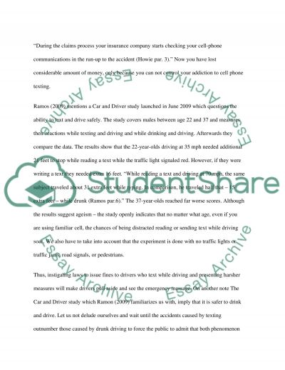 Texting while Driving essay example
